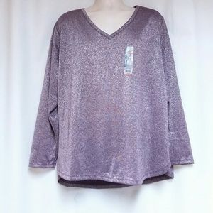 Faded Glory Plus-Size Purple Knit Top 4X/26-28W